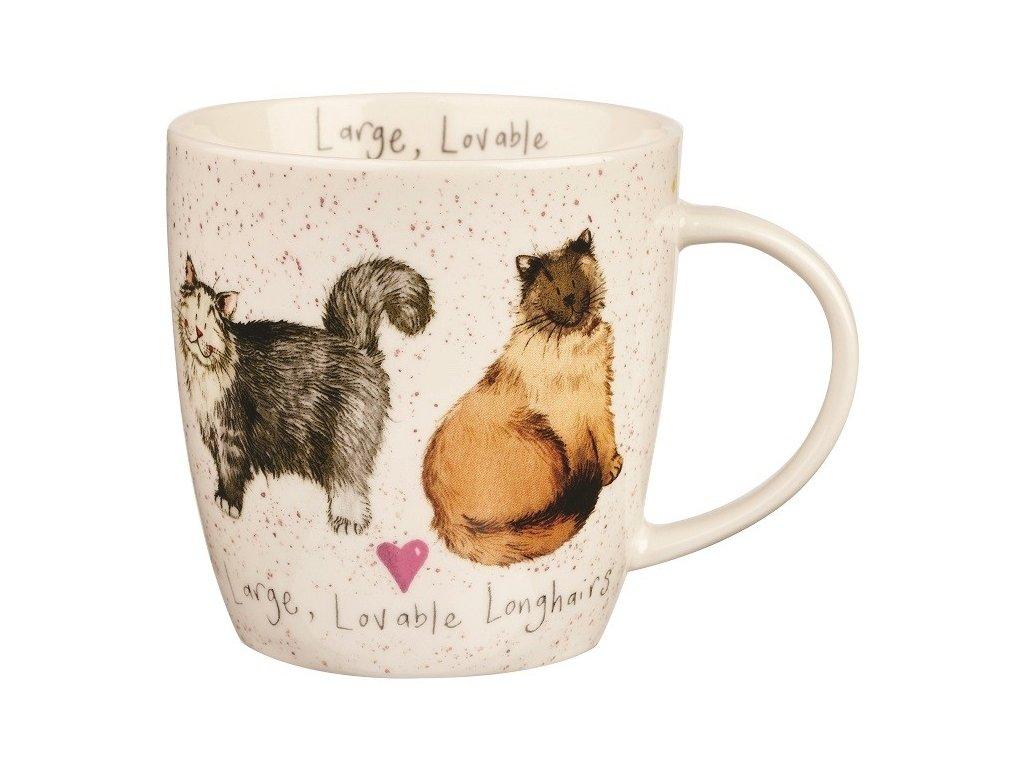 Velká, dlouhosrstá kočka, Lovable longhairs - porcelánový hrnek s motivem kočky, Alex Clark, 400 ml