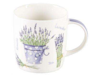 Levandule 0,25 l - porcelánový hrnek - motiv fialový květináč