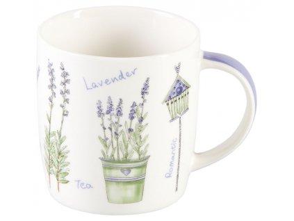 Levandule 0,25 l - porcelánový hrnek - motiv zelený květináč