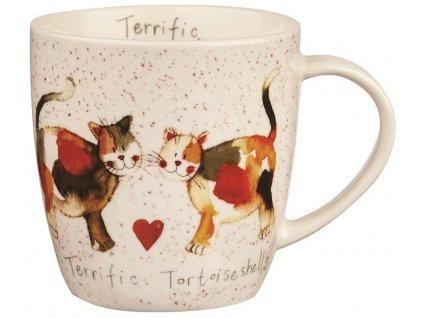 Želvovinová kočka, Terrific Tortoiseshelles - porcelánový hrnek s motivem kočky, Alex Clark, 400 ml